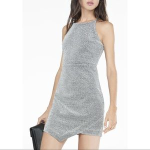 Express Silver Glitter Asymmetrical Dress